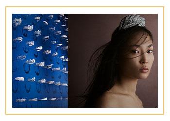 Chaumet tiara display and woman wearing tiara